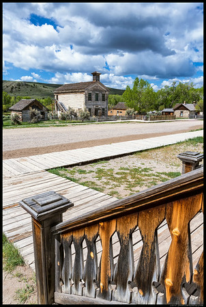 View of old school from the porch of the hotel in Bannack.