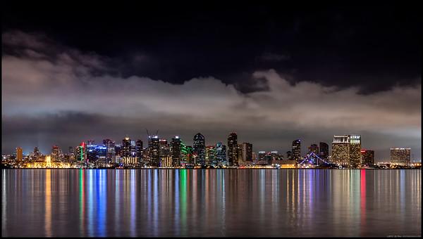 San Diego skyline from the rocks along Harbor Island.